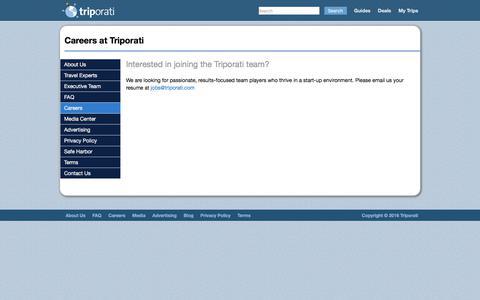 Screenshot of Jobs Page triporati.com - Careers at Triporati - Triporati - captured June 22, 2017