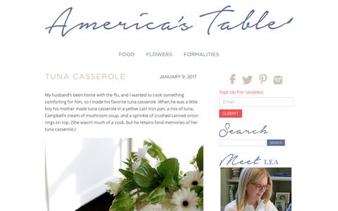 Screenshot of Home Page americas-table.com - America's Table - captured Jan. 23, 2017