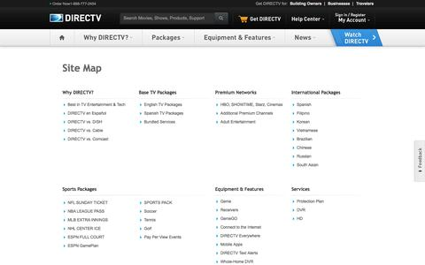 Screenshot of Site Map Page directv.com - Site Map - captured Sept. 19, 2014