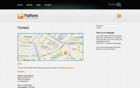Screenshot of Contact Page flatformgames.nl - Contact | Flatform Games - captured Oct. 6, 2014