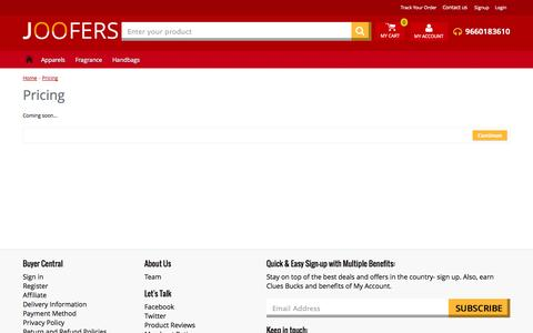 Screenshot of Pricing Page joofers.com - Pricing - captured Sept. 30, 2014
