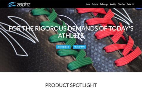 Screenshot of Home Page zephz.com - Zephz Athletic Footwear - captured July 15, 2015
