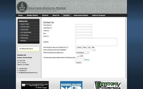 Screenshot of Contact Page delphosgraniteworks.com - Contact - captured Sept. 30, 2014