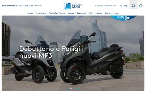 Screenshot of Home Page piaggiogroup.com - Gruppo Piaggio - captured July 18, 2018