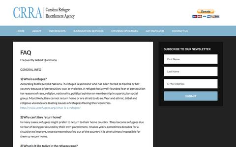 Screenshot of FAQ Page carolinarefugee.org - FAQ - captured Oct. 25, 2016
