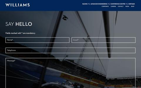 Screenshot of Contact Page williamsf1.com - Williams F1 - captured Feb. 14, 2016