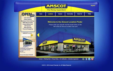 Screenshot of Locations Page amscot.com - Amscot Financial - captured Feb. 6, 2016