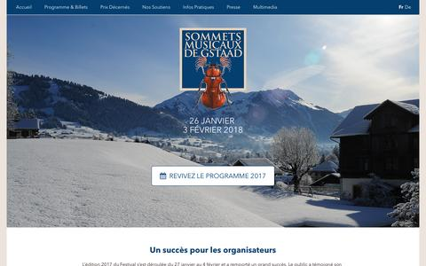 Screenshot of Home Page sommetsmusicaux.ch - Sommets Musicaux de Gstaad - captured March 22, 2017