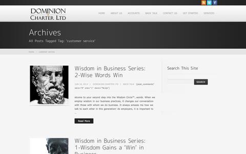 Screenshot of Support Page dominioncharterltd.com - customer service - captured Jan. 7, 2016