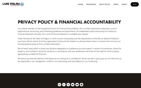 Screenshot of Privacy Page palau.org - Privacy Policy — Luis Palau Association - captured Sept. 30, 2018