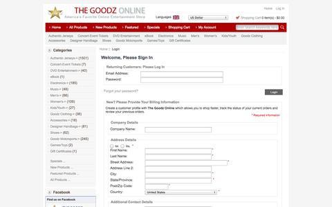 Screenshot of Login Page thegoodzonline.com - Login : The Goodz Online, Americas Favorite Online Store - captured Oct. 7, 2014