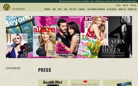 Screenshot of Press Page teadorabeauty.com - Press – Teadora - captured Feb. 14, 2016