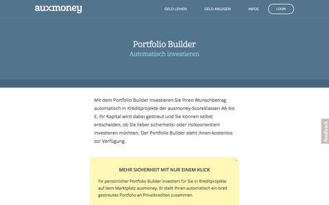 Portfolio Builder – automatisch investieren bei auxmoney