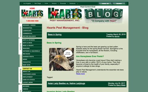 Screenshot of Blog heartspm.com - Pest Control Blog of Hearts Pest Management - captured Sept. 28, 2018