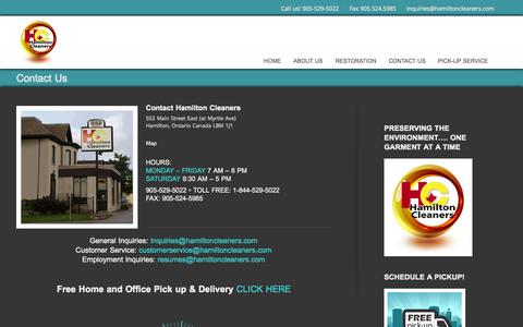 Screenshot of Contact Page hamiltoncleaners.com - Contact Hamilton Cleaners - captured Oct. 1, 2014