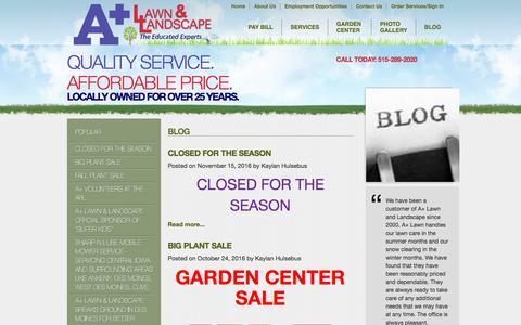 Screenshot of Blog apluslawn.com - A Plus Lawn & Landscape - Blog - Lawn Care Des Moines, Landscaping Urbandale, Landscaping Design Clive, Irrigation Installation Johnston, Irrigation System Repair Des Moines, Tree & Scrub Care Altoona, Landscape Lighting Des Moines, Garden Center Des - captured Nov. 17, 2016