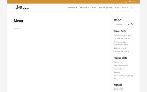 Screenshot of Menu Page lastgen.net - Menu | Last Generation - captured Oct. 25, 2018