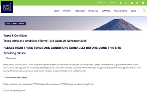 Screenshot of Terms Page wttc.org - Terms & Conditions | WTTC - captured Dec. 5, 2016