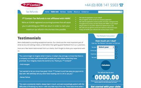 Screenshot of Testimonials Page 1stcontact-taxrefunds.com - 1st Contact Tax Refunds Testimonials - captured Sept. 30, 2014