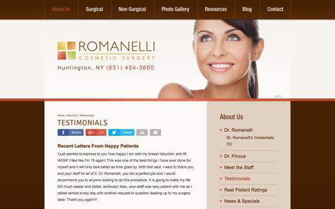 Screenshot of Testimonials Page jrcs.com - Long Island Plastic Surgeon Testimonials - Romanelli Cosmetic Surgery - captured Oct. 23, 2017