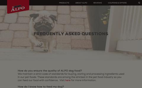 Screenshot of FAQ Page alpo.com - FAQs - ALPO® Dog Food - captured Feb. 27, 2017
