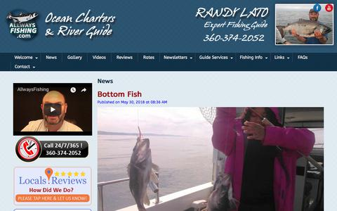 Screenshot of Press Page allwaysfishing.com - News - Olympic Peninsula Washington State Fishing Guide - captured July 1, 2018
