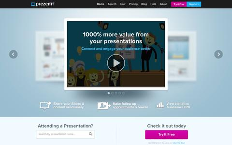 Screenshot of Home Page prezentt.com - Prezentt - 1000% more value from your presentations - captured Sept. 30, 2014