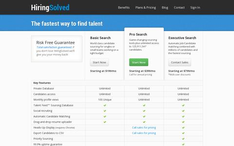 Screenshot of Pricing Page hiringsolved.com - Pricing | HiringSolved - captured July 19, 2014