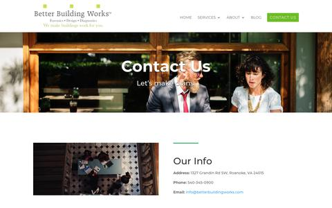 Screenshot of Contact Page betterbuildingworks.com - Contact Us   Better Building Works - captured Oct. 5, 2018