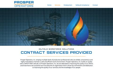 Screenshot of Services Page prosperoperators.com - Oilfield Staffing Services | Prosper Operators | Lafayette, LA - captured Sept. 30, 2018