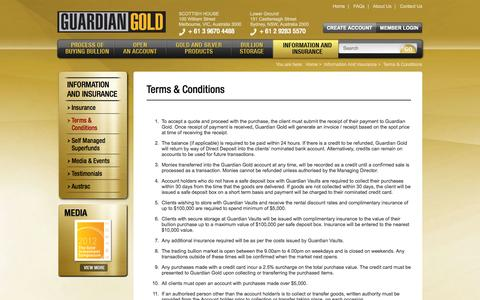 Screenshot of Terms Page guardian-gold.com.au - Terms & Conditions - captured Sept. 30, 2014