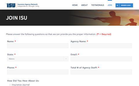Screenshot of Signup Page joinisu.com - Join ISU - ISU Insurance Agency Network - captured Oct. 6, 2017