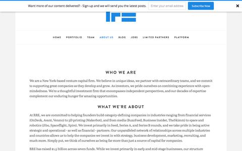 Screenshot of Contact Page rre.com - Who We Are — RRE Ventures - captured Sept. 17, 2019