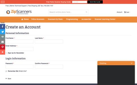 Screenshot of Signup Page zipscanners.com - Create New Customer Account - captured Dec. 17, 2016