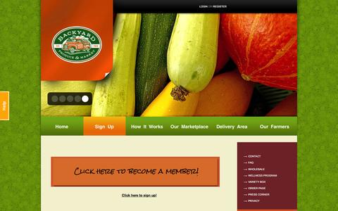 Screenshot of Signup Page byproduce.com - Basket Sizes | Backyard Produce - captured Jan. 22, 2016