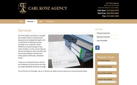 Screenshot of Services Page ckagency.com - Services - Carl Konz Agency - captured Oct. 24, 2016