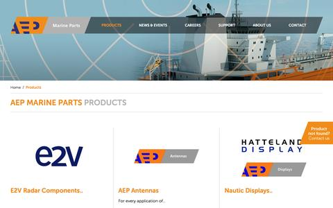 Screenshot of Products Page aepmarineparts.com - Products - AEP - captured May 28, 2017