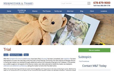 Screenshot of Trial Page mtlawoffice.com - Divorce Trials | Atlanta Family Law Attorney | Alpharetta, Georgia Child Custody Lawyers | Meriwether & Tharp, LLC - captured Nov. 3, 2014