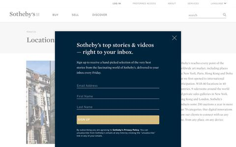 Screenshot of Locations Page sothebys.com - Locations | Art Sales, Auctions and Evaluations | Sotheby's - captured July 21, 2018