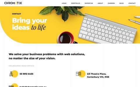 Screenshot of Contact Page chromatix.com.au - Contact   Chromatix - captured July 17, 2018