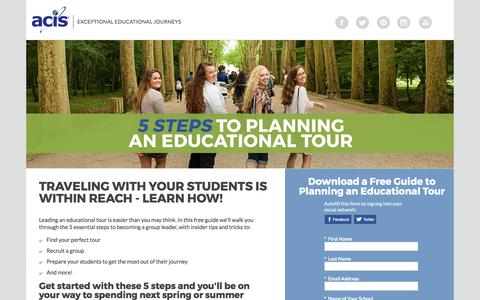 Screenshot of Landing Page acis.com - ACIS 5 Steps to Planning an Educational Tour - captured March 13, 2017