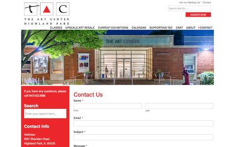 Screenshot of Contact Page theartcenterhp.org - Contact Us - Art Center Highland Park - captured Oct. 21, 2017