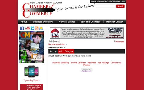 Screenshot of Jobs Page nchcchamber.com - Job Search - Chamber - New Castle-Henry County Chamber of Commerce - captured Nov. 5, 2014