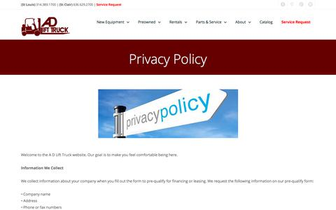 Screenshot of Privacy Page adlifttruck.com - A D Lift Truck | St. Louis | St. Clair | Privacy Policy - captured July 28, 2018