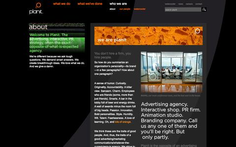 Screenshot of About Page planitagency.com - about Planit – Ideas Transform - captured Oct. 2, 2014