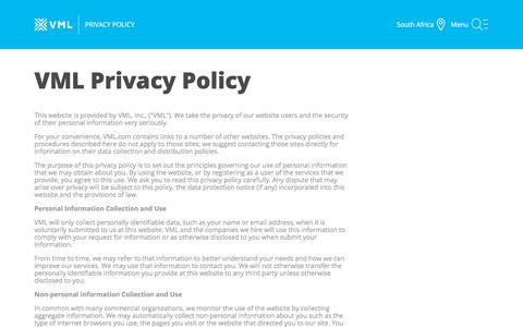 Screenshot of Privacy Page vml.com - Privacy Policy - VML - captured Feb. 19, 2018
