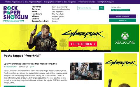 Screenshot of Trial Page rockpapershotgun.com - Free-trial | Rock Paper Shotgun - captured Sept. 4, 2019