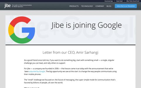 Screenshot of Home Page jibemobile.com - Jibe Mobile | Cloud Communications Company for Mobile Operators - captured Dec. 4, 2015