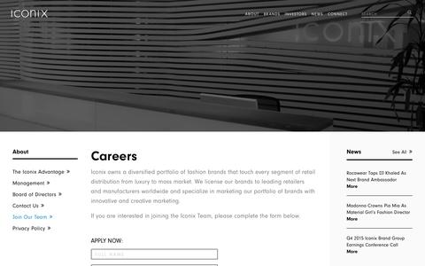 Screenshot of Jobs Page iconixbrand.com - Careers – Iconix - captured July 3, 2016