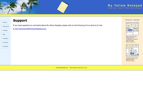 Screenshot of Support Page myyellownotepad.com - Contact - captured April 8, 2016